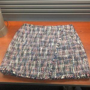 Frayed boucle wrap skirt